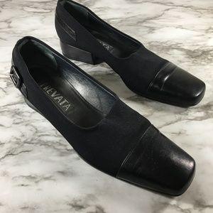 Prevata Black Leather Slip On Career Chunky Heels